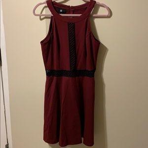 Worn Once! Size 13 maroon skater dress w/ cutouts